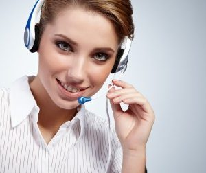 woman headset telephone tech support